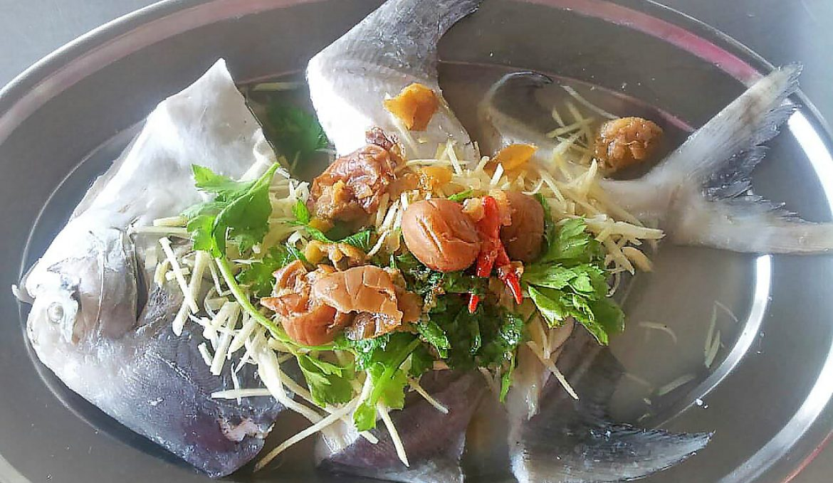 Steamed Pomfret with Sour Plum Ginger and Thai Herbs